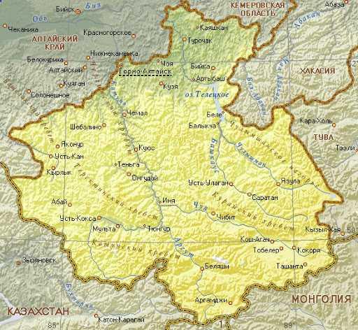 Карта Алтай