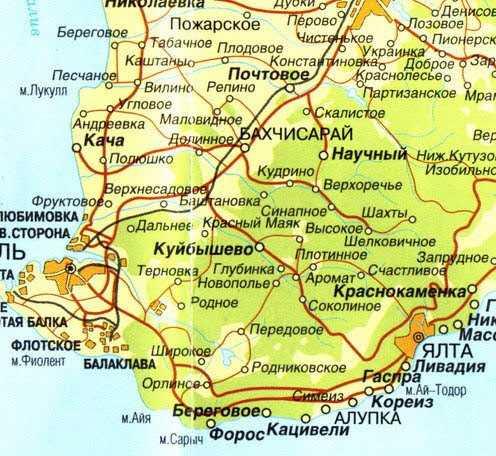 Полуостров Крым карта