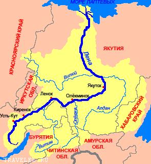 река Лена на карте