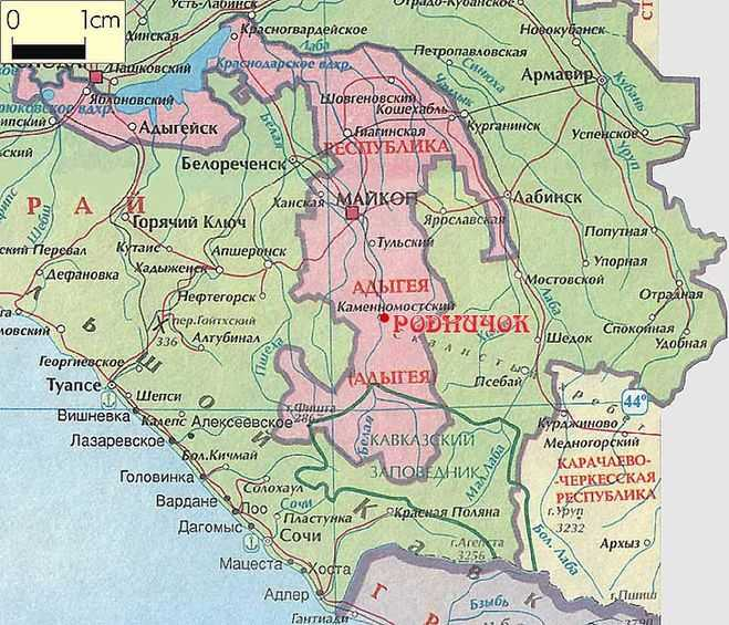 Адыгея на карте