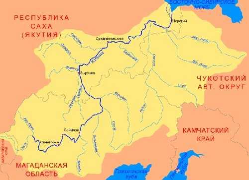 река Колыма на карте